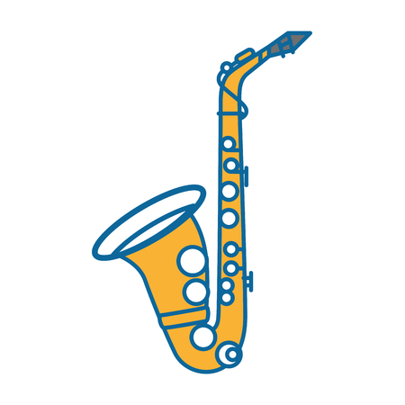 saxophone instrument icon over white background vector illustration