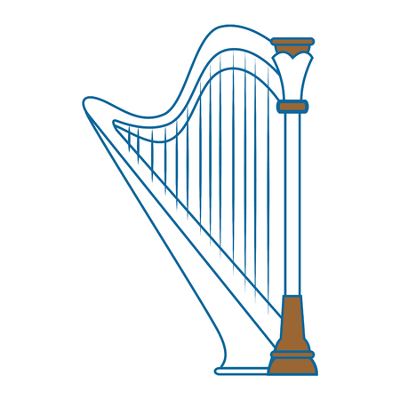 harp instrument icon over white background vector illustration