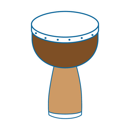 Djembe Drum instrument icon over white background vector illustration