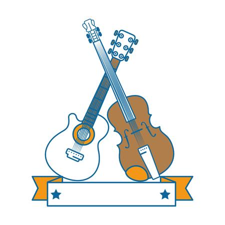 기타와 흰색 배경 위에 바이올린 아이콘으로 장식 리본 벡터 일러스트 레이 션