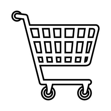 白い背景のベクトル図の上の買物車アイコン
