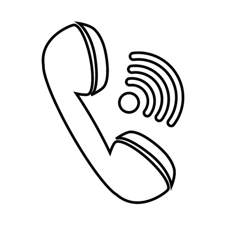 old telephone: phone icon over white background vector illustration