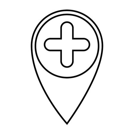 白い背景のベクトル図にピン アイコンの表示場所