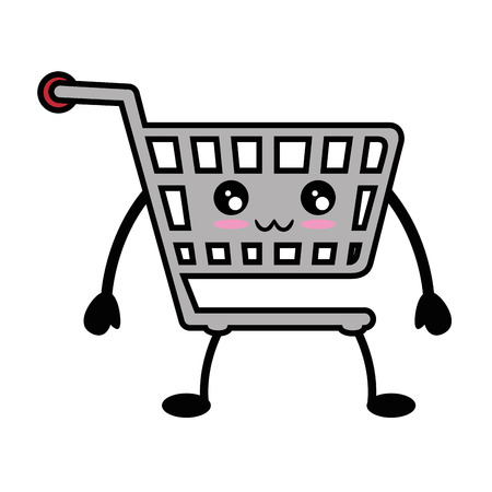 kawaii shopping cart icon over white background vector illustration