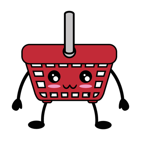 kawaii shopping basket icon over white background vector illustration