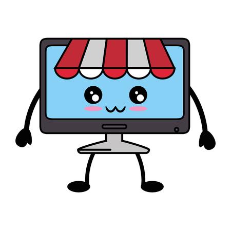 kawaii computer icon over white background vector illustration Reklamní fotografie - 83722822