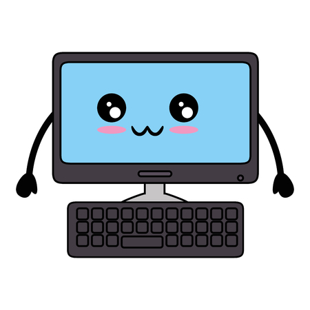 kawaii computer icon over white background vector illustration