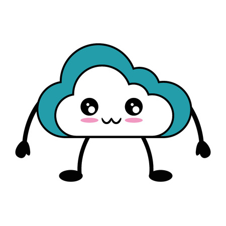 kawaii cloud icon over white background vector illustration