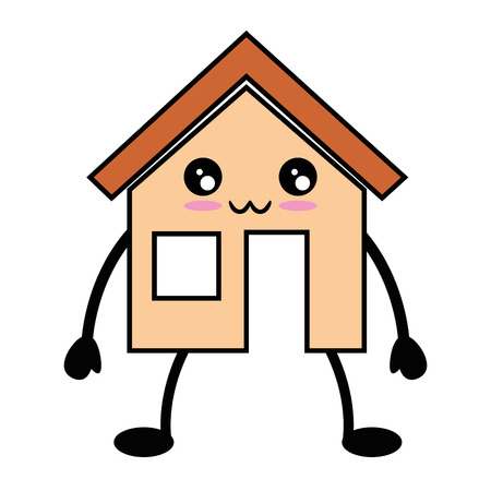 kawaii house icon over white background vector illustration