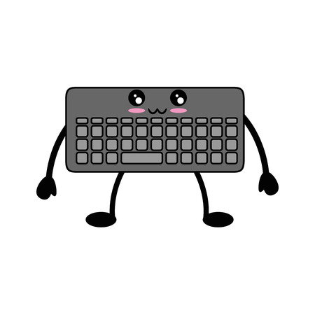 kawaii keyboard icon over white background vector illustration