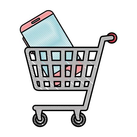 shopping cart icon over white background vector illustration 版權商用圖片 - 83723319