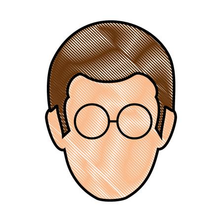 avatar man with glasses icon over white background colorful design vector illustration Ilustração