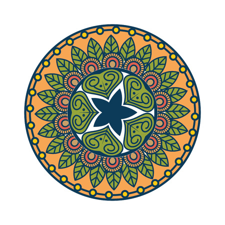 Mandalapictogram over witte achtergrond kleurrijke ontwerp vectorillustratie