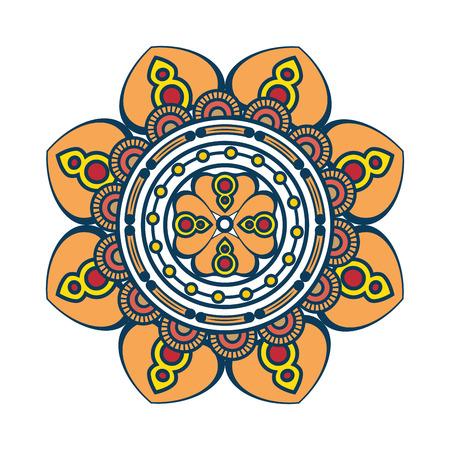 bloemen Mandala pictogram op witte achtergrond kleurrijke deisgn vector illustratie