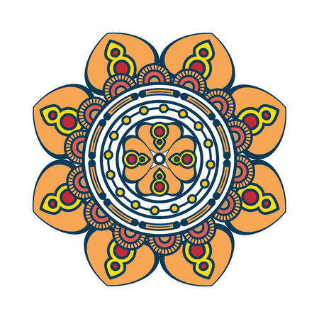 floral Mandala icon over white background colorful deisgn vector illustration