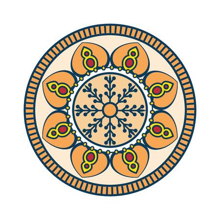 Mandalapictogram over witte achtergrond kleurrijke ontwerp vectorillustratie Stockfoto - 83723184