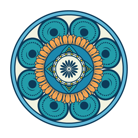 Mandalapictogram over witte achtergrond kleurrijke ontwerp vectorillustratie Stockfoto - 83723372