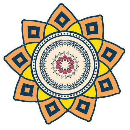 Bloemen Mandala pictogram op witte achtergrond kleurrijke deisgn vector illustratie Stockfoto - 83723374