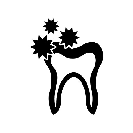 Human tooth with bacterium vector illustration design 向量圖像