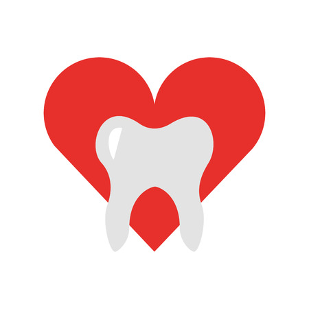 heart with Human tooth isolated icon vector illustration design Illusztráció