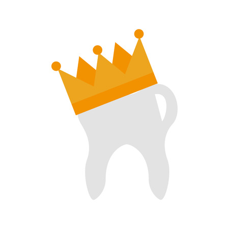Human tooth with crown vector illustration design