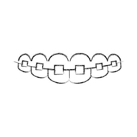 bracket: Denture with orthodontics icon vector illustration design