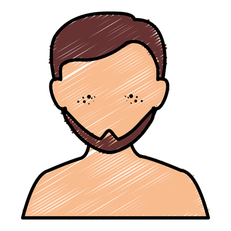 Young man shirtless avatar Illustration