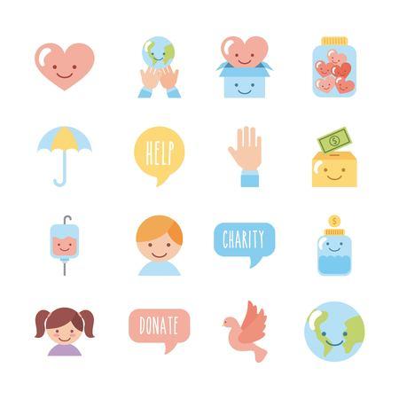 Set di icone bambini donare illustrazione vettoriale grafica di design