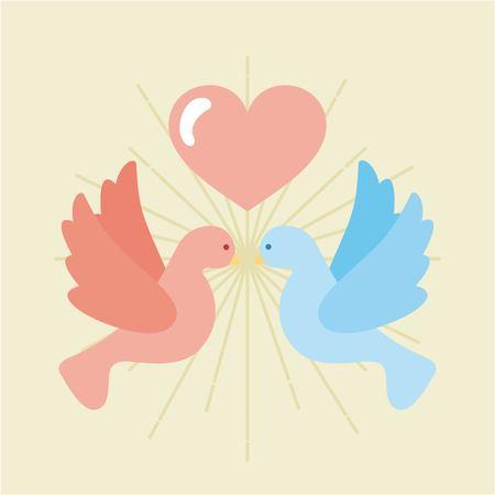 Conception graphique de deux oiseaux avec une icône de coeur Banque d'images - 83805226