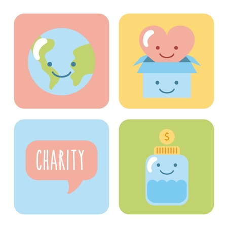 Set of icons for childrens donation. Vector illustration design graphic