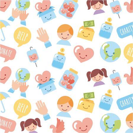 Nahtlose Design von Ikonen der Kinder-Wohltätigkeitsorganisationen. Vektor-Illustration Design-Grafik Standard-Bild - 83805263