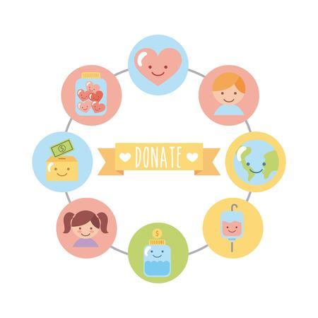 Satz von Icons für Kinder Spende. Vektor-Illustration-Design-Grafik Standard-Bild - 83805264