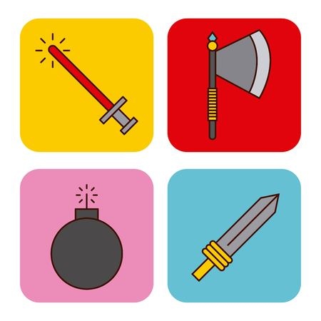 Set of weapons for video game weapons. Vector illustration design graphic Banco de Imagens - 83805287