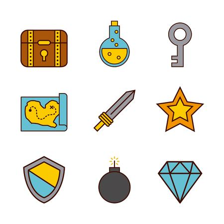 Set of video game icons. Vector illustration design graphic Banco de Imagens - 83805288