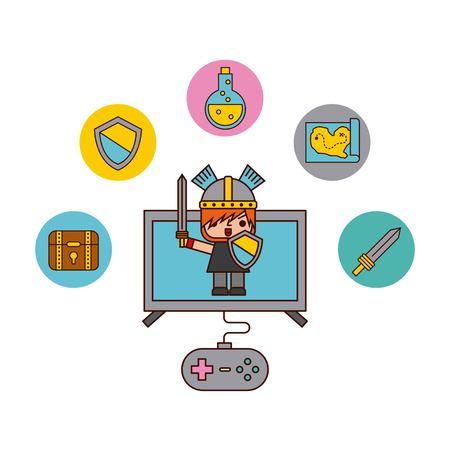 Icon vector video games classic illustration design graphic Banco de Imagens - 83864023