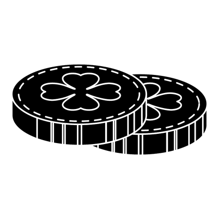 coins with clover icon vector illustration design