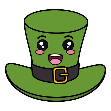 elves: Irish elf hat saint Patrick celebration kawaii character vector illustration design.
