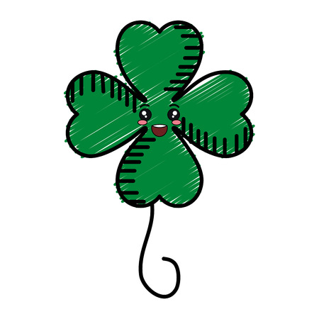 Saint Patrick clover kawaii character vector illustration design.