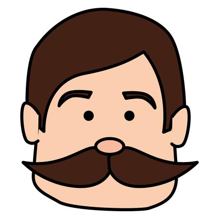 콧수염 아바타 캐릭터 벡터 일러스트 레이 션 디자인을 가진 남자