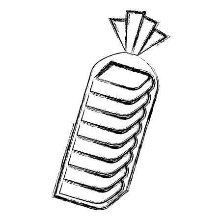pyszne tosty chleb w plastikowej torbie ilustracji wektorowych projektowania Ilustracje wektorowe
