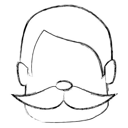 口ひげアバター文字ベクトル イラスト デザインを持つ男  イラスト・ベクター素材