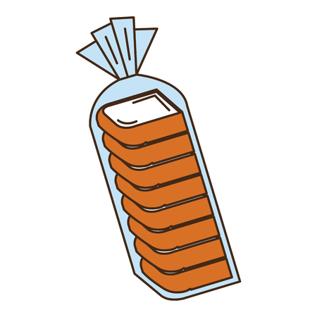 toasted: delicious toast bread in plastic bag vector illustration design