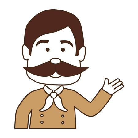 man with mustache avatar character vector illustration design Иллюстрация