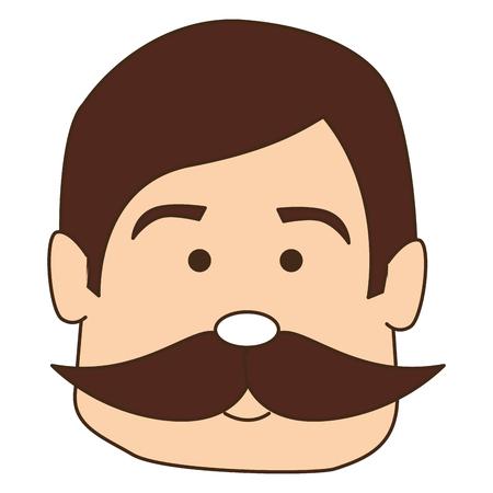 man with mustache avatar character vector illustration design Vettoriali