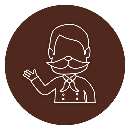 Hombre con diseño de ilustración de vector de personaje de avatar de bigote Foto de archivo - 83798529