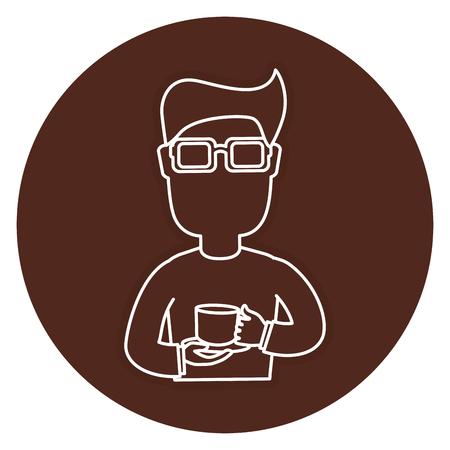 Man drinking coffee avatar vector illustration design