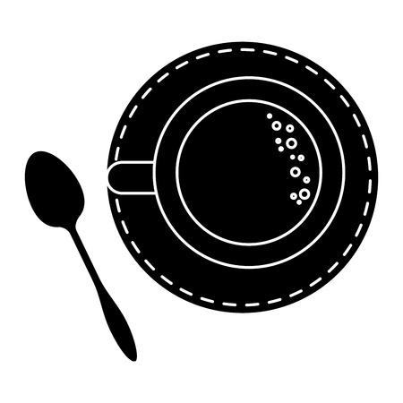 Coffee cup with spoon vector illustration design Çizim