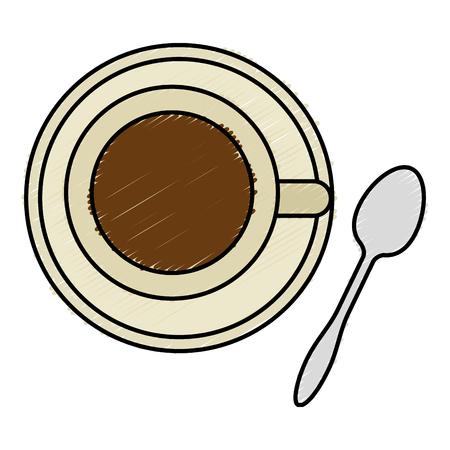 Koffiekop met ontwerp van de lepel het vectorillustratie