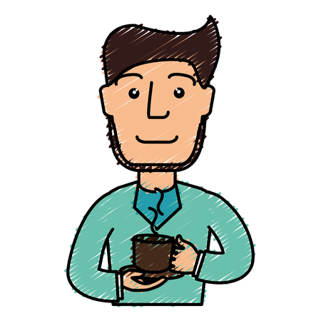 Man drinking coffee avatar vector illustration design