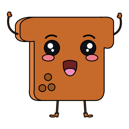 Delicious toast bread character vector illustration design